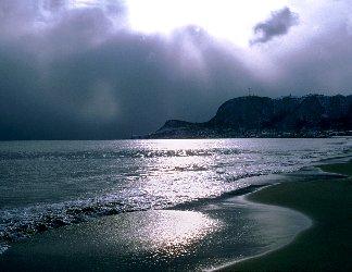 segno, divino, occhio, scaccia, tenebre, tempesta, finita, calma, mare, piatto, promontorio