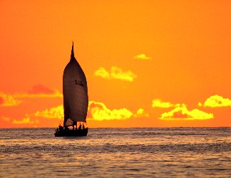 barca, vela, veliero, rotta, marina, strada, cielo, sereno, nuvolette, rosee, traversata, oceanica