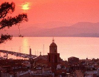 città, tramonto, mare, porto, monti, romanticismo, cielo, rosso, sole