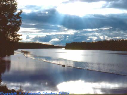 paesaggio, natura, nord, europa, lago, tramonto, sole, freddo
