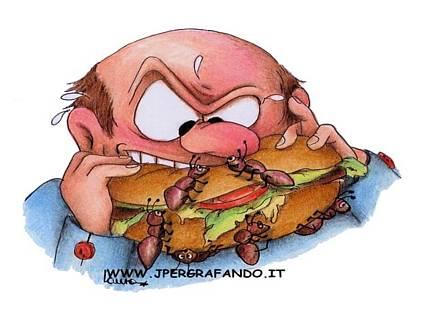 Pic, nic, picnic, mangiare, addentare, cibo, mal, confezionato, formicem sapore, aggiunto, pane, salumi, affettato, formaggi, sudore, spavento