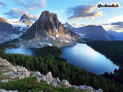 monti, laghi, freddo, neve, sole, verde, alberi