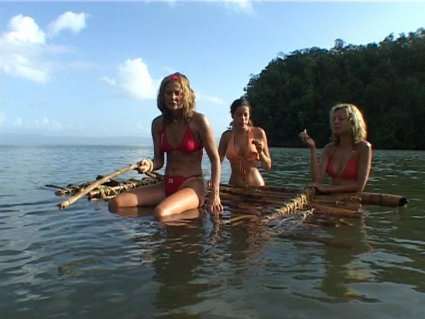 ragazze, zattera, sole, mare, spiaggia, dei, famosi, Repubblica, Dominicana, penisola, Samanà