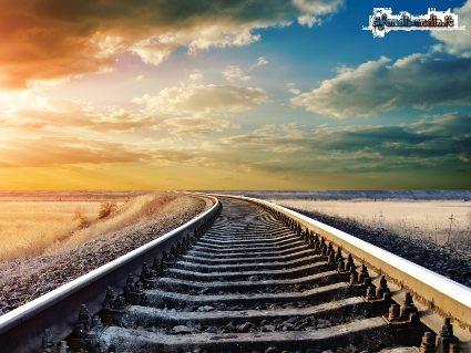 ferrovia, strada, binari, seguire, treno, arrivo, partenza