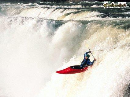 fresco, rapide, acqua, scorrere, estremo, canoa, tuffo, dislivello, cascata