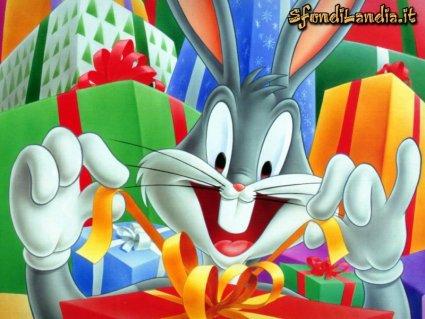 cartoline compleano, bugs, bunny, auguri, pacchi, regali, nastri, carta, doni
