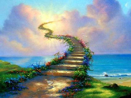 cielo, scala, fantastico, paradiso, giardino, paradiso terrestre