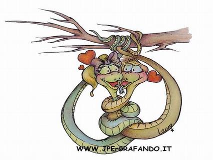 cartoline amore, bacio, tenerezze, serpenti, coccole, stretta, cuori, ramo