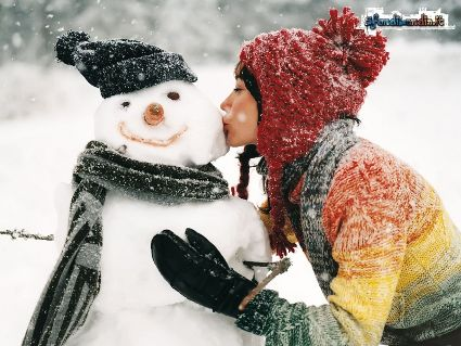 amore, bacio, neve, divertimento, allegria, freddo