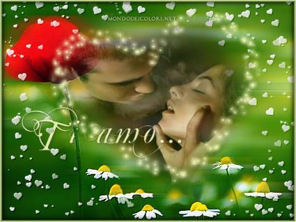 amami, bacio, passione, sentimento, calore, affetto, verde, prati, rosso