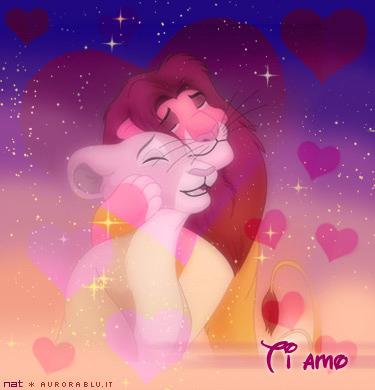 cartoline ti amo, amore mio, abbraccio romantico, dolcezza, felini, disney