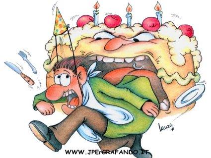 torta aggressiva, contrappasso, cartoline auguri, festa, morso, addentare, panna, candeline, crema, cioccolato, liquore