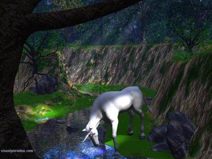 bianco, corno, polvere, magica, curatrice, foresta, incantata, ruscello, fiume, torrente, bere, sete, abbeverarsi