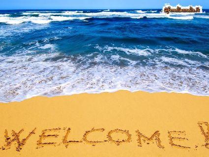 vacanza, benvenuto, accogliere, spiaggia, scritta, alto, eccomi
