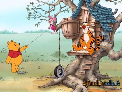 winnie, tigro, amici, altalena, albero, gioco, bambini, divertimento