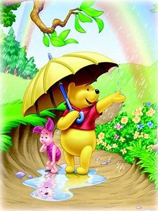 rainbow, arcobaleno, felicità, sole, pioggia, foglie, aria, frizzante, maialino, rosa, specchio, d'acqua, ombrello, rispecchiare