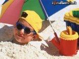 Testa, sabbia, occhiali, bambino, secchiello, ombrellone