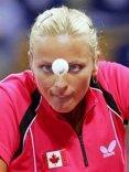Tennis tavolo, pallina, occhi, fisso, concentrazione