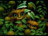 occhi, verdi, pupille dilatate, nella, notte, controllo, tra, foglie, verde, animalini, animaletti, curiosi, pelo, pelosi