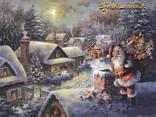 babbo, natale, doni, neve, paesaggio, innevato, paese, camino, fumo, comignolo, tetti, amore, regali, doni, natale