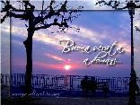 cartoline buona serata, tramonto, panchina, soli, cartoline buona sera, a domani, vedere, guardare