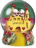 castello d'amore, diddl, cuori, palla di vetro, cartolina amore, sogno, vissero felici e contenti