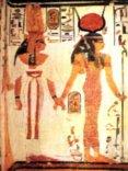 coppia, egizia, tomba, geroglifici, profilo