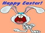 cartoline buona pasqua, coniglio, happy, easter, urlo, scritta, cartone, animata
