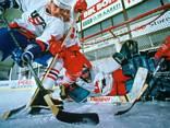 hockey, pista, mazza, dischetto, gol, segnare, spallate, pesante, duro, ovale, rink