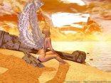 malinconia, angelo, donna, ali, ala, perizoma, piedi, nudi, corpo, nudo, scogliera