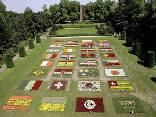 giardino, prato, bandiere, corea del sud, iran, usa, italia, spagna, inghilterra, portogallo, tunisia, togo, giappone, costa avorio, ceka, francia,