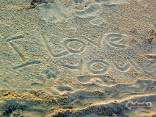 amore, passione, festa, sentimento, sabbia, disegno, scritte