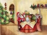 natale, tavolata, cena, cenone, babbo natale, festa