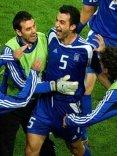 cartolina grecia calcio, Traianos, Dellas, ciclope, roma, difensore, finale, libero, gol